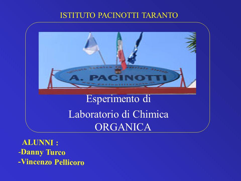 ISTITUTO PACINOTTI TARANTO Esperimento di Laboratorio di Chimica ORGANICA ALUNNI : -Danny Turco -Vincenzo Pellicoro