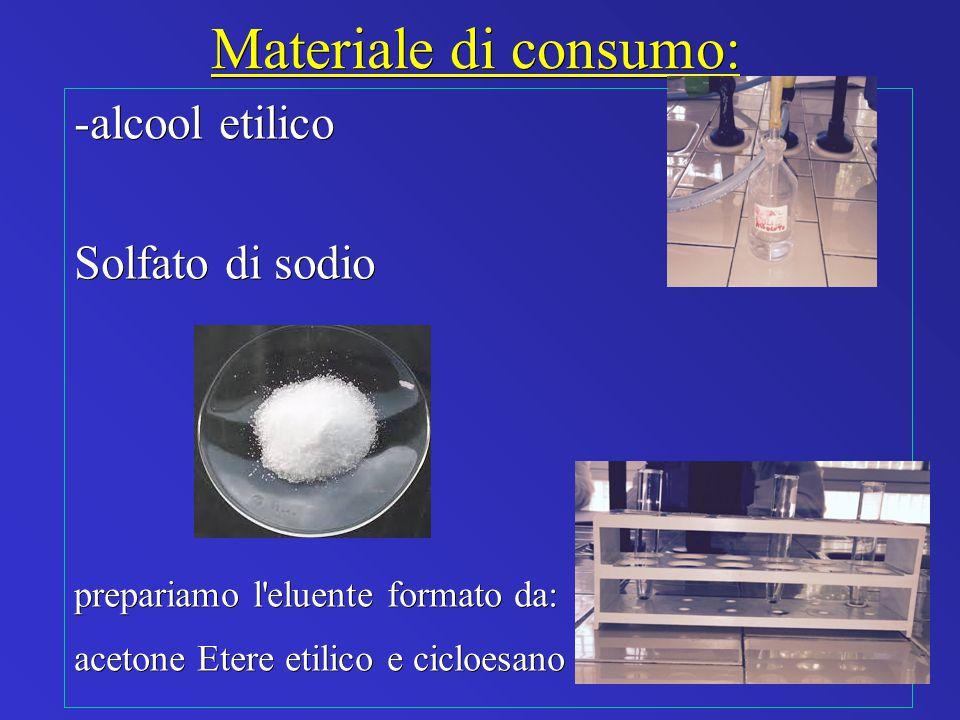 Materiale di consumo: -alcool etilico Solfato di sodio prepariamo l'eluente formato da: acetone Etere etilico e cicloesano