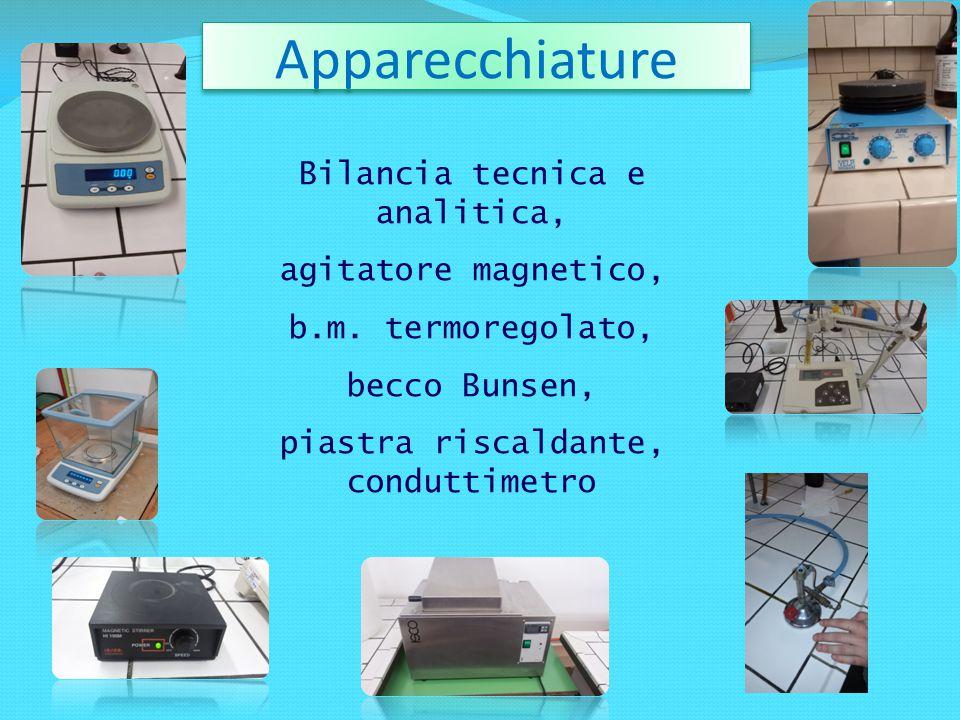 Apparecchiature Bilancia tecnica e analitica, agitatore magnetico, b.m. termoregolato, becco Bunsen, piastra riscaldante, conduttimetro