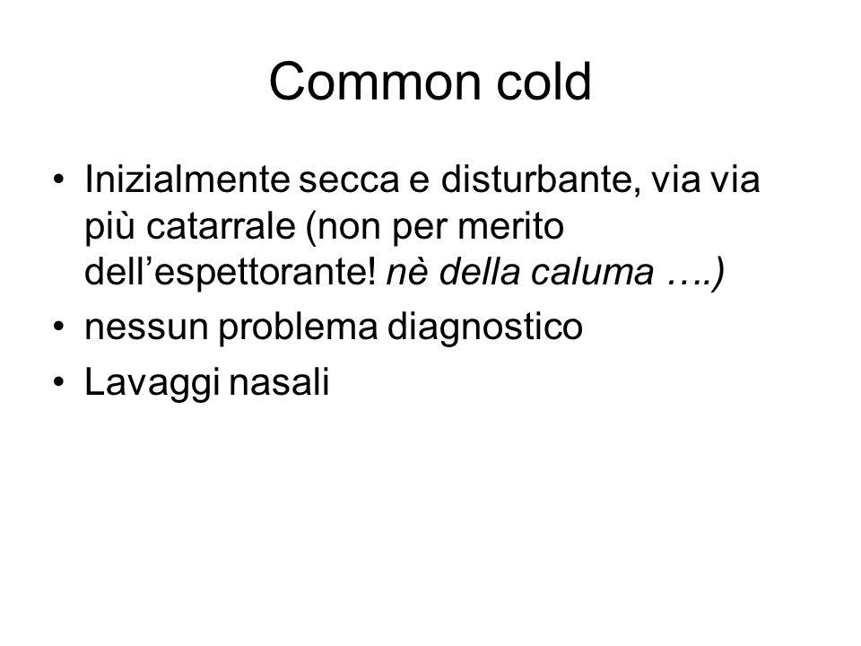 TOSSE ACUTA Breve Virosi (Common cold) Lunga CatarraleSecca
