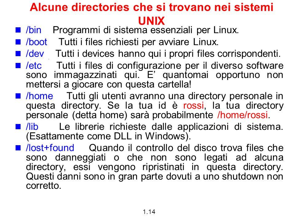 1.14 Alcune directories che si trovano nei sistemi UNIX /bin Programmi di sistema essenziali per Linux. /boot Tutti i files richiesti per avviare Linu