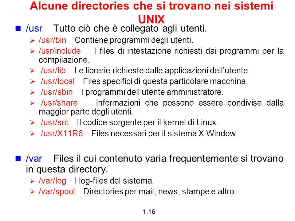 1.16 Alcune directories che si trovano nei sistemi UNIX /usr Tutto ciò che è collegato agli utenti.  /usr/bin Contiene programmi degli utenti.  /usr