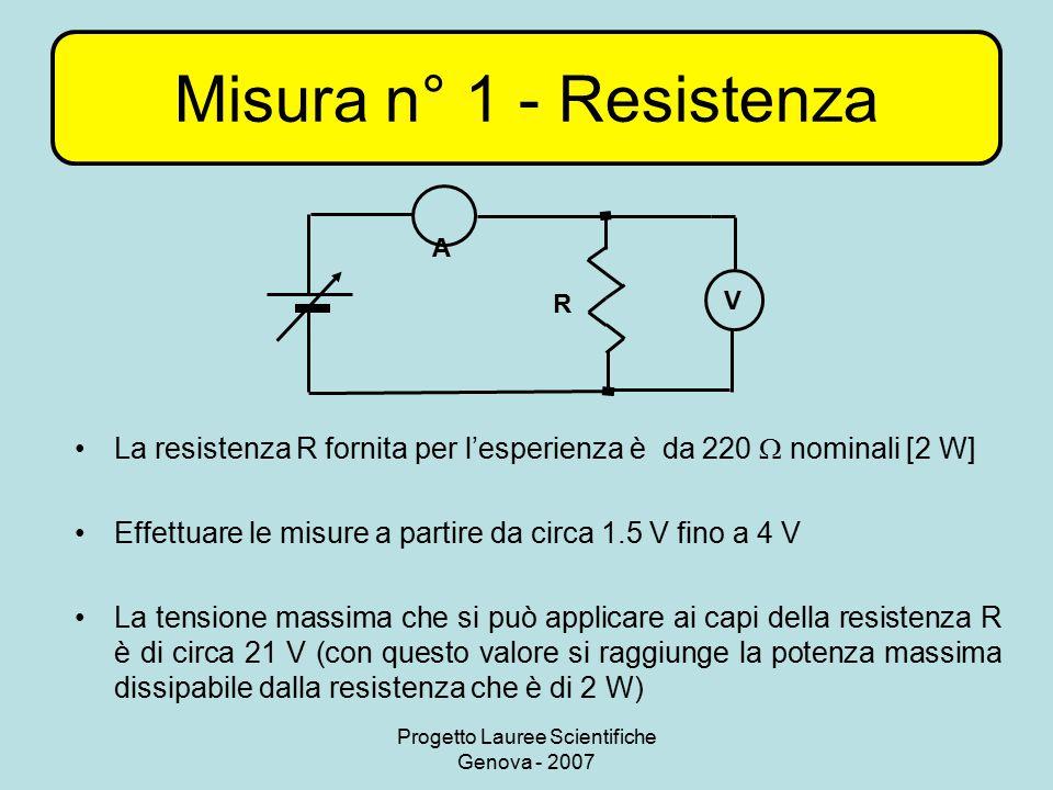 Progetto Lauree Scientifiche Genova - 2007 Misura n° 1 - Resistenza La resistenza R fornita per l'esperienza è da 220  nominali [2 W] Effettuare le m