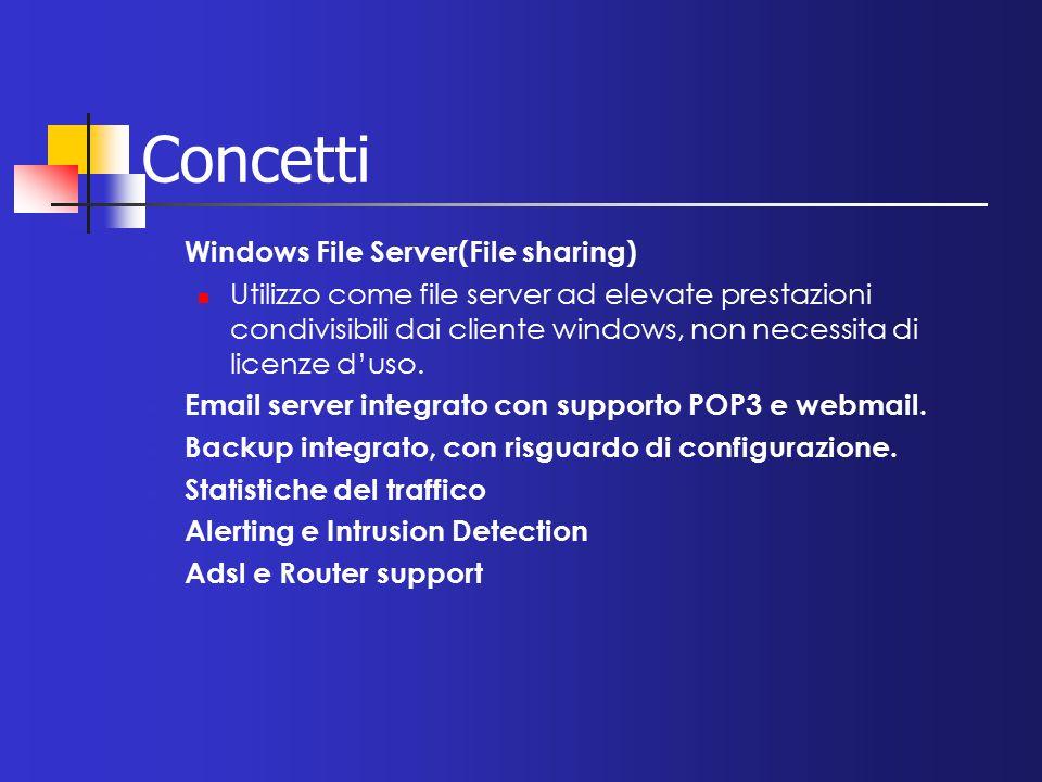 Concetti Windows File Server(File sharing) Utilizzo come file server ad elevate prestazioni condivisibili dai cliente windows, non necessita di licenz
