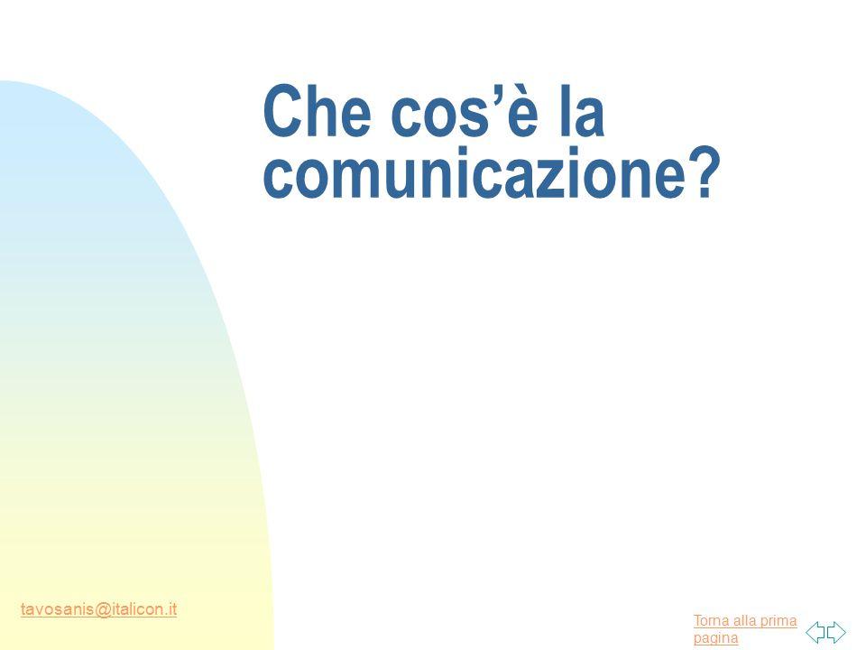 Torna alla prima pagina tavosanis@italicon.it Che cos'è la comunicazione