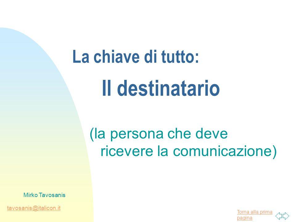 Torna alla prima pagina tavosanis@italicon.it Mirko Tavosanis La chiave di tutto: Il destinatario (la persona che deve ricevere la comunicazione)
