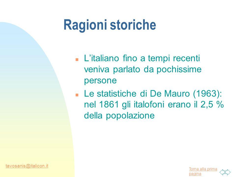 Torna alla prima pagina tavosanis@italicon.it Ragioni storiche n L'italiano fino a tempi recenti veniva parlato da pochissime persone n Le statistiche di De Mauro (1963): nel 1861 gli italofoni erano il 2,5 % della popolazione