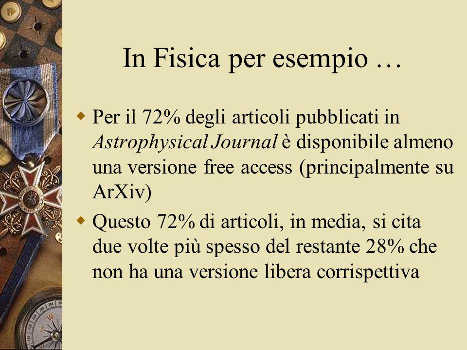 In Fisica per esempio …  Per il 72% degli articoli pubblicati in Astrophysical Journal è disponibile almeno una versione free access (principalmente su ArXiv)  Questo 72% di articoli, in media, si cita due volte più spesso del restante 28% che non ha una versione libera corrispettiva