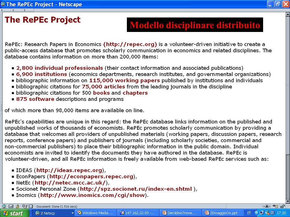 Modello disciplinare distribuito