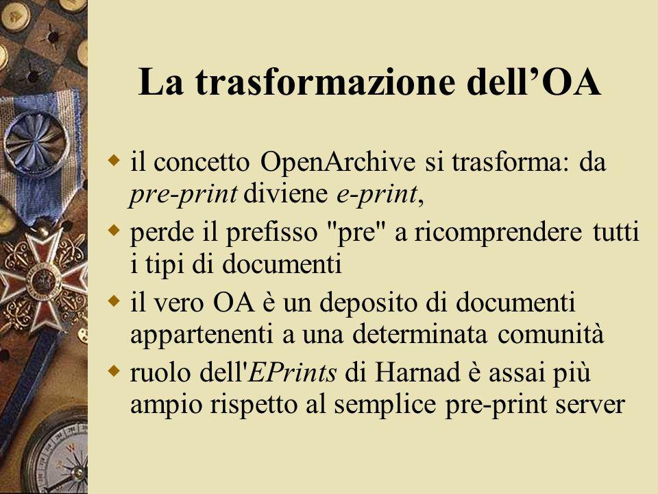 La trasformazione dell'OA  il concetto OpenArchive si trasforma: da pre-print diviene e-print,  perde il prefisso pre a ricomprendere tutti i tipi di documenti  il vero OA è un deposito di documenti appartenenti a una determinata comunità  ruolo dell EPrints di Harnad è assai più ampio rispetto al semplice pre-print server