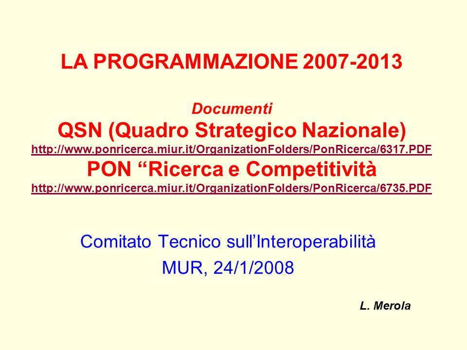 Comitato Tecnico sull'Interoperabilità MUR, 24/1/2008 L. Merola LA PROGRAMMAZIONE 2007-2013 Documenti QSN (Quadro Strategico Nazionale) http://www.pon