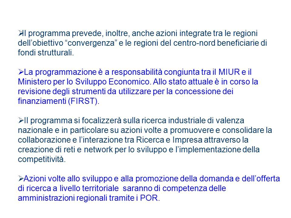 """ Il programma prevede, inoltre, anche azioni integrate tra le regioni dell'obiettivo """"convergenza"""" e le regioni del centro-nord beneficiarie di fondi"""
