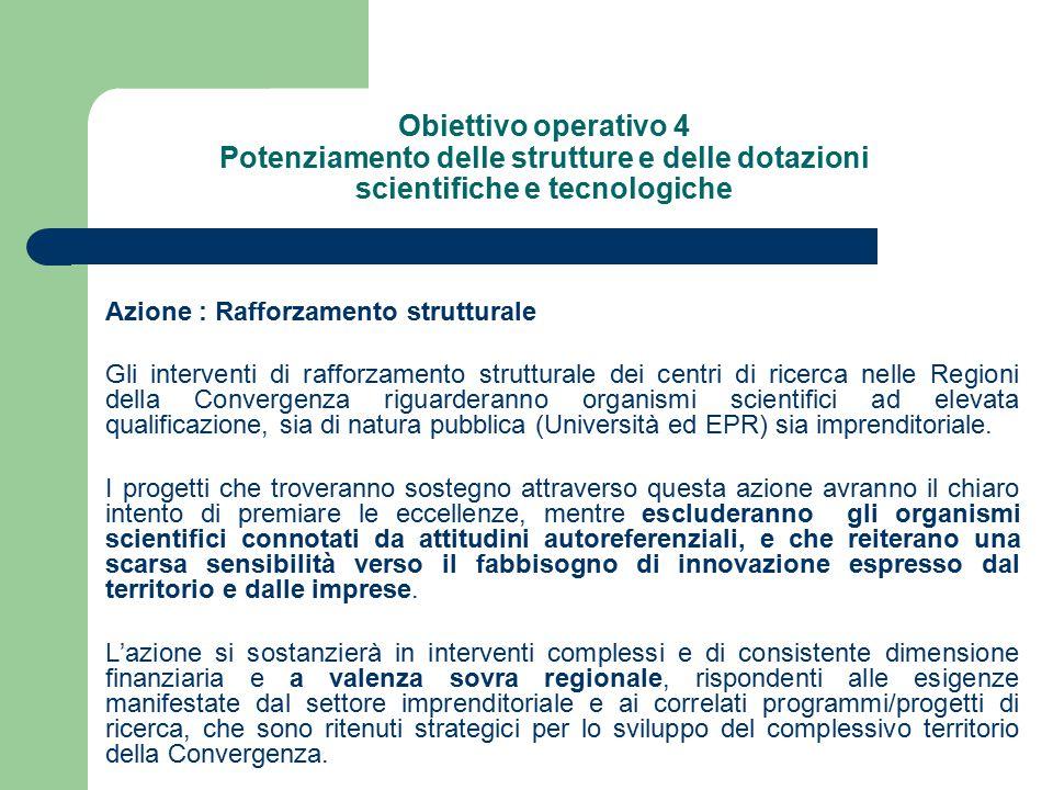 Obiettivo operativo 4 Potenziamento delle strutture e delle dotazioni scientifiche e tecnologiche Azione : Rafforzamento strutturale Gli interventi di