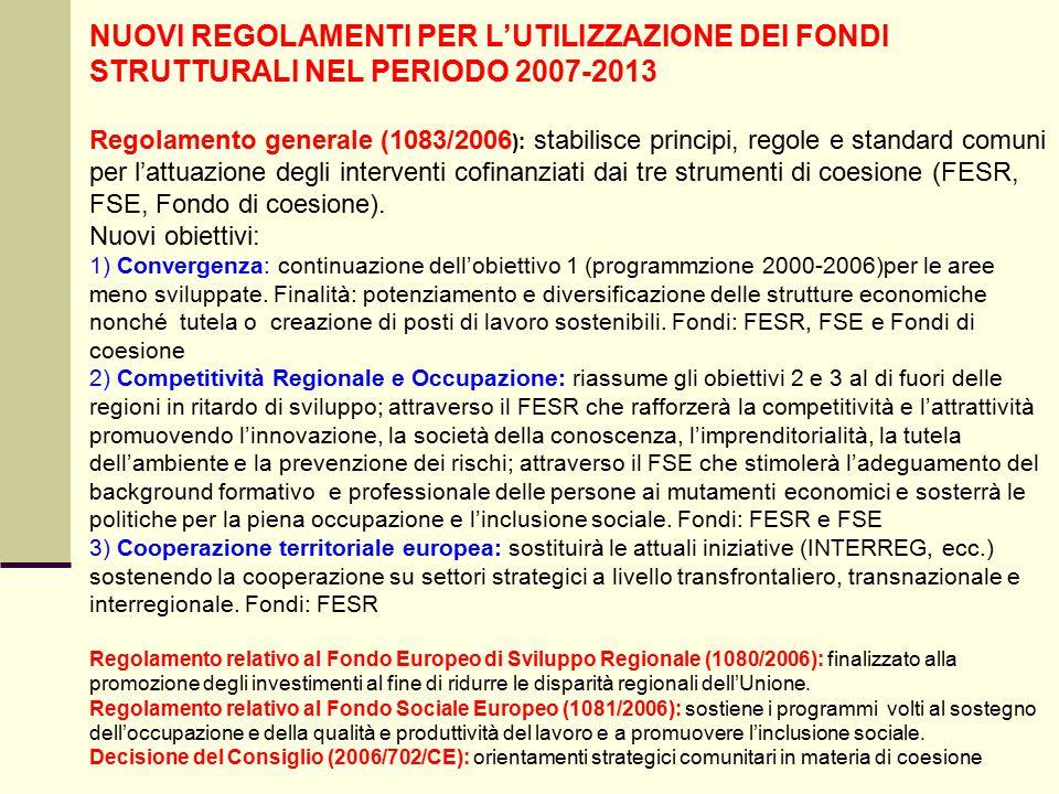 NUOVI REGOLAMENTI PER L'UTILIZZAZIONE DEI FONDI STRUTTURALI NEL PERIODO 2007-2013 Regolamento generale (1083/2006 ): stabilisce principi, regole e standard comuni per l'attuazione degli interventi cofinanziati dai tre strumenti di coesione (FESR, FSE, Fondo di coesione).