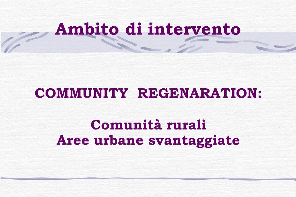 Ambito di intervento COMMUNITY REGENARATION: Comunità rurali Aree urbane svantaggiate