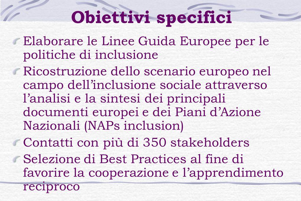 Obiettivi specifici Elaborare le Linee Guida Europee per le politiche di inclusione Ricostruzione dello scenario europeo nel campo dell'inclusione sociale attraverso l'analisi e la sintesi dei principali documenti europei e dei Piani d'Azione Nazionali (NAPs inclusion) Contatti con più di 350 stakeholders Selezione di Best Practices al fine di favorire la cooperazione e l'apprendimento reciproco