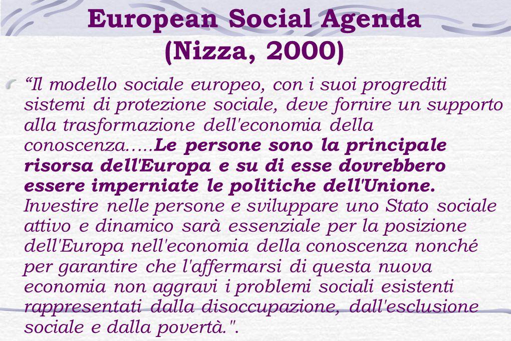 European Social Agenda (Nizza, 2000) Il modello sociale europeo, con i suoi progrediti sistemi di protezione sociale, deve fornire un supporto alla trasformazione dell economia della conoscenza…..