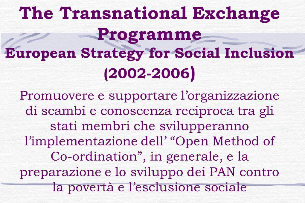 The Transnational Exchange Programme European Strategy for Social Inclusion (2002-2006 ) Promuovere e supportare l'organizzazione di scambi e conoscenza reciproca tra gli stati membri che svilupperanno l'implementazione dell' Open Method of Co-ordination , in generale, e la preparazione e lo sviluppo dei PAN contro la povertà e l'esclusione sociale