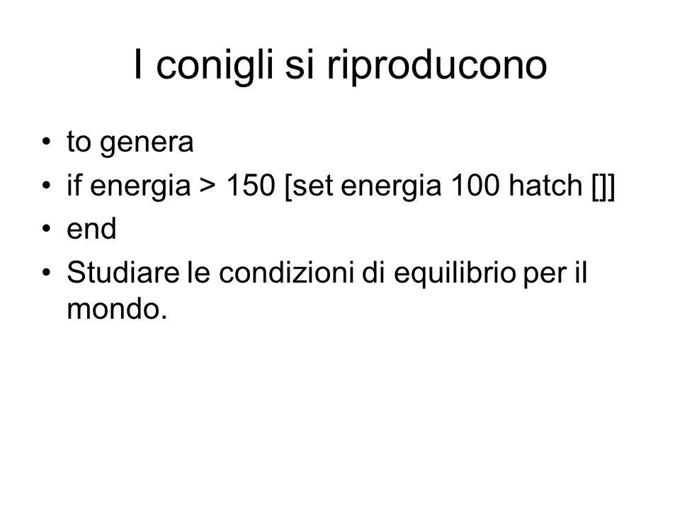 I conigli si riproducono to genera if energia > 150 [set energia 100 hatch []] end Studiare le condizioni di equilibrio per il mondo.