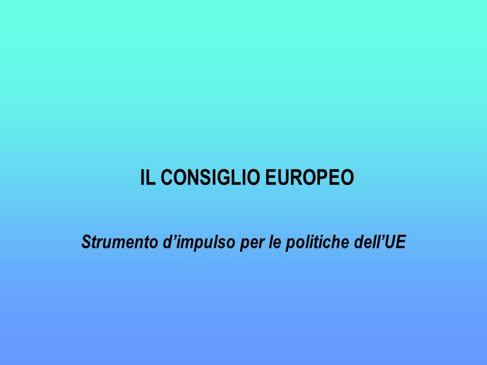 IL CONSIGLIO EUROPEO Strumento d'impulso per le politiche dell'UE