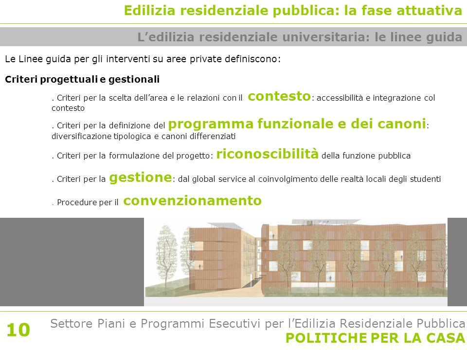 Settore Piani e Programmi Esecutivi per l'Edilizia Residenziale Pubblica POLITICHE PER LA CASA Le Linee guida per gli interventi su aree private definiscono: Criteri progettuali e gestionali.