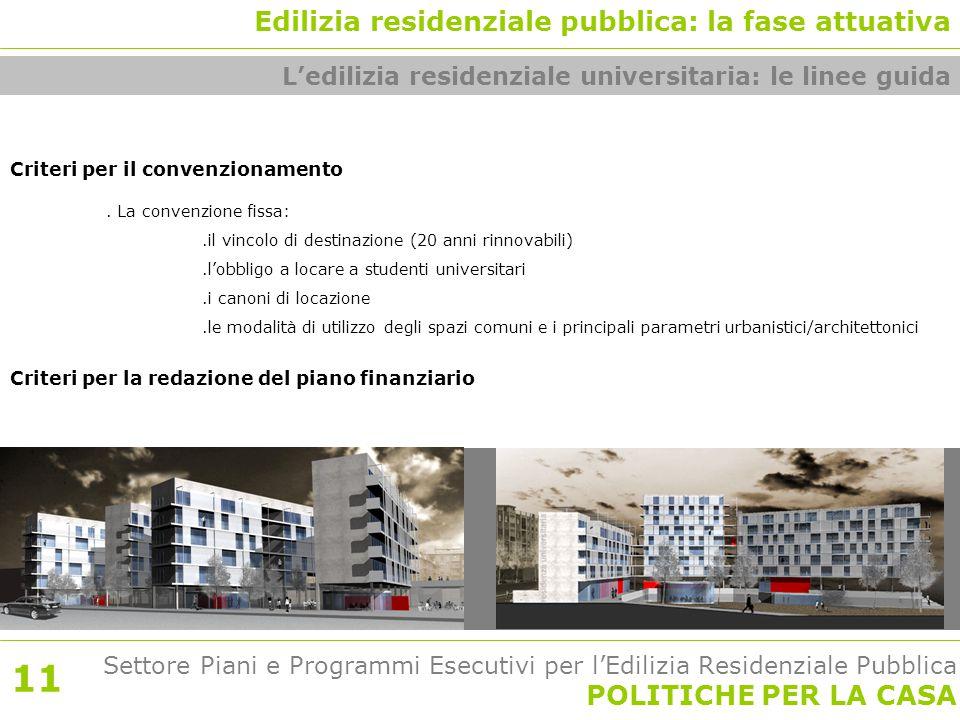 Settore Piani e Programmi Esecutivi per l'Edilizia Residenziale Pubblica POLITICHE PER LA CASA Criteri per il convenzionamento.