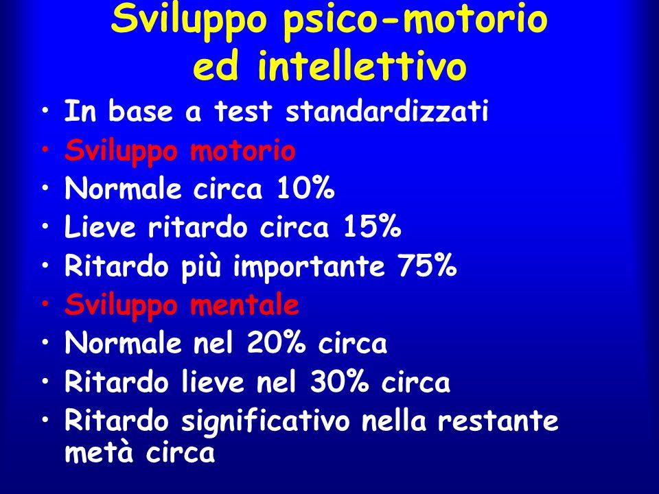 Sviluppo psico-motorio ed intellettivo In base a test standardizzati Sviluppo motorio Normale circa 10% Lieve ritardo circa 15% Ritardo più importante