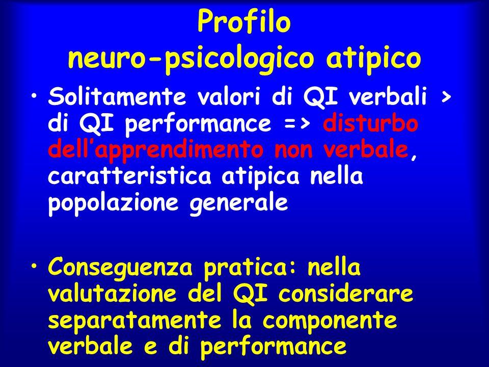 Profilo neuro-psicologico atipico Solitamente valori di QI verbali > di QI performance => disturbo dell'apprendimento non verbale, caratteristica atip