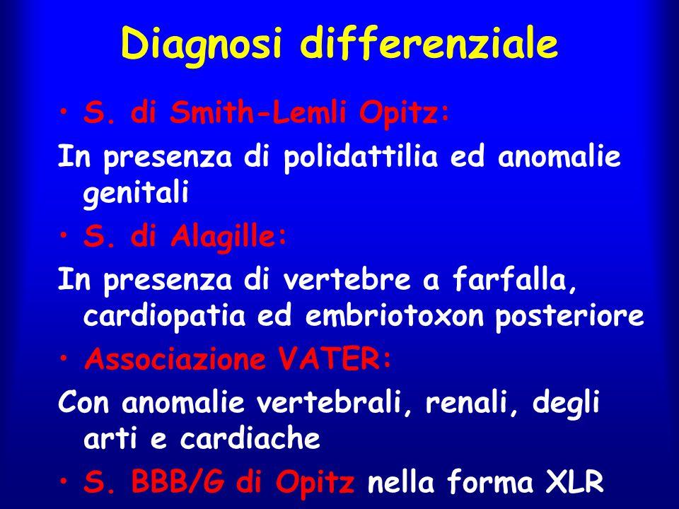Diagnosi differenziale S. di Smith-Lemli Opitz: In presenza di polidattilia ed anomalie genitali S. di Alagille: In presenza di vertebre a farfalla, c