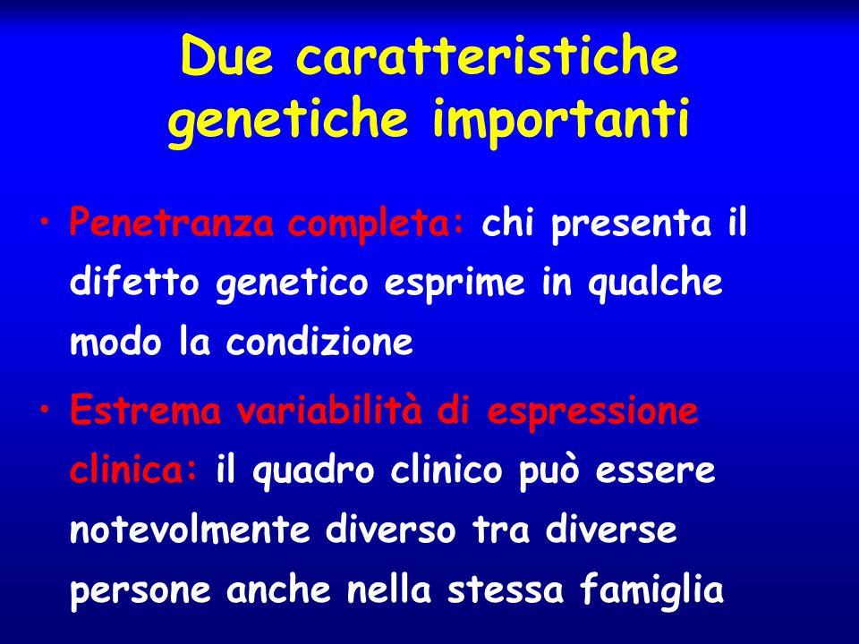 Due caratteristiche genetiche importanti Penetranza completa: chi presenta il difetto genetico esprime in qualche modo la condizione Estrema variabili