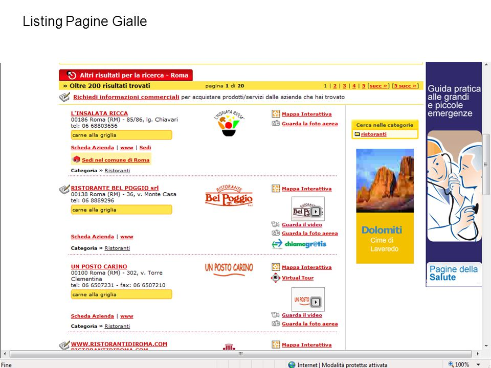 Listing Pagine Gialle