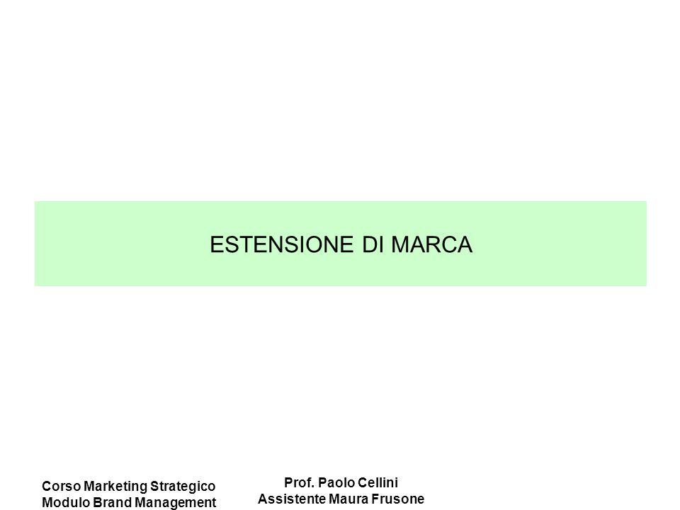 Corso Marketing Strategico Modulo Brand Management Prof. Paolo Cellini Assistente Maura Frusone ESTENSIONE DI MARCA