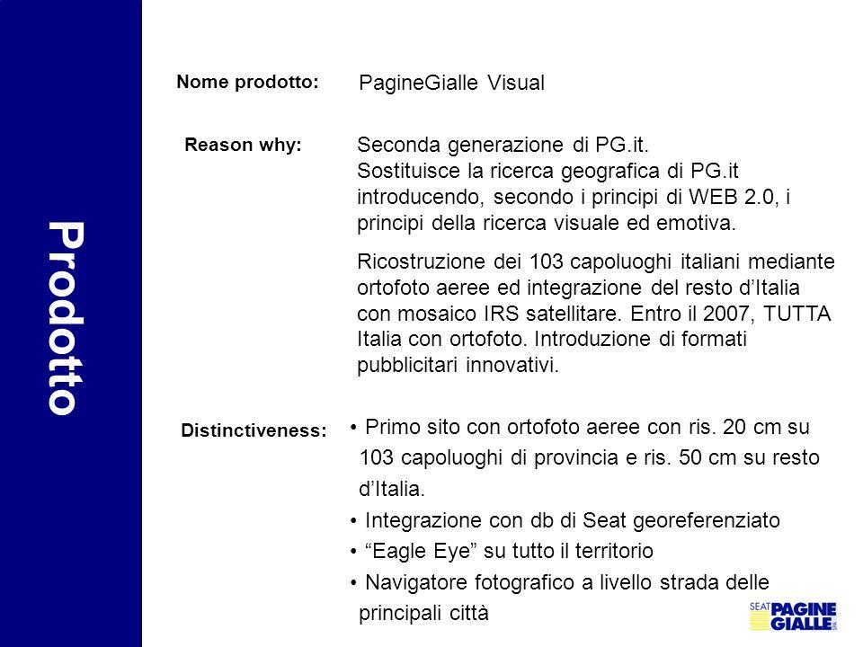 Nome prodotto: PagineGialle Visual Reason why: Seconda generazione di PG.it. Sostituisce la ricerca geografica di PG.it introducendo, secondo i princi