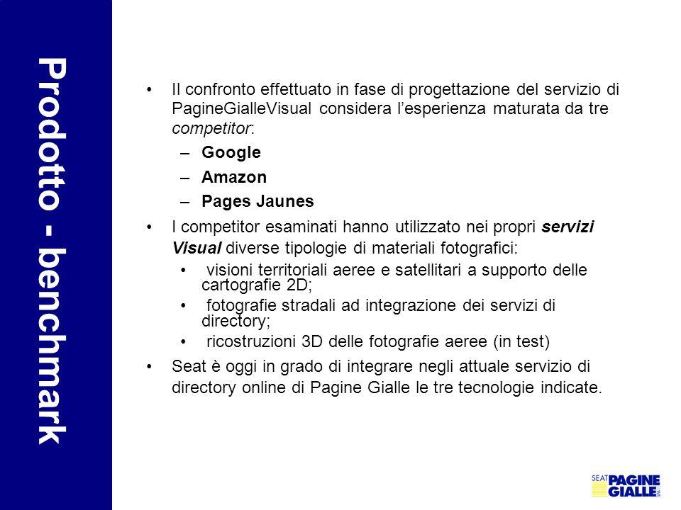 Prodotto - benchmark Il confronto effettuato in fase di progettazione del servizio di PagineGialleVisual considera l'esperienza maturata da tre compet