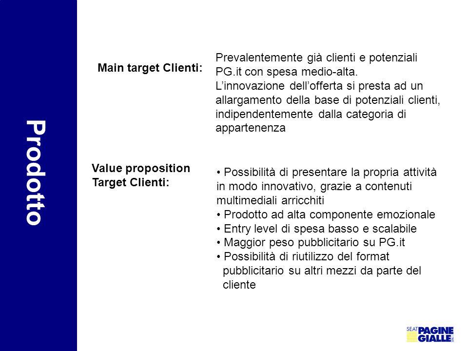Main target Clienti: Prevalentemente già clienti e potenziali PG.it con spesa medio-alta. L'innovazione dell'offerta si presta ad un allargamento dell