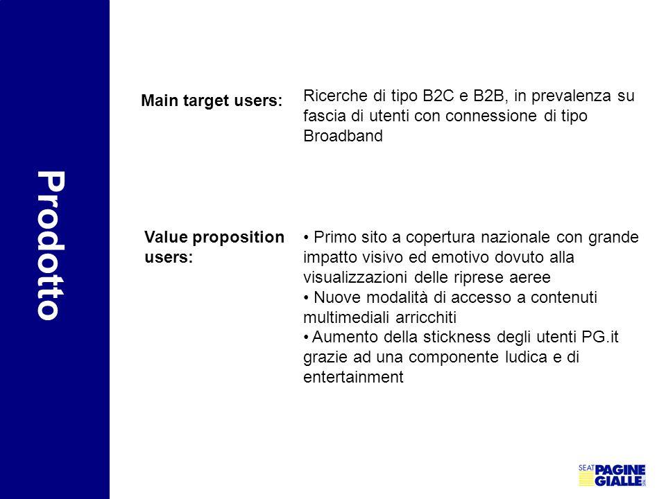 Main target users: Ricerche di tipo B2C e B2B, in prevalenza su fascia di utenti con connessione di tipo Broadband Prodotto Value proposition users: P