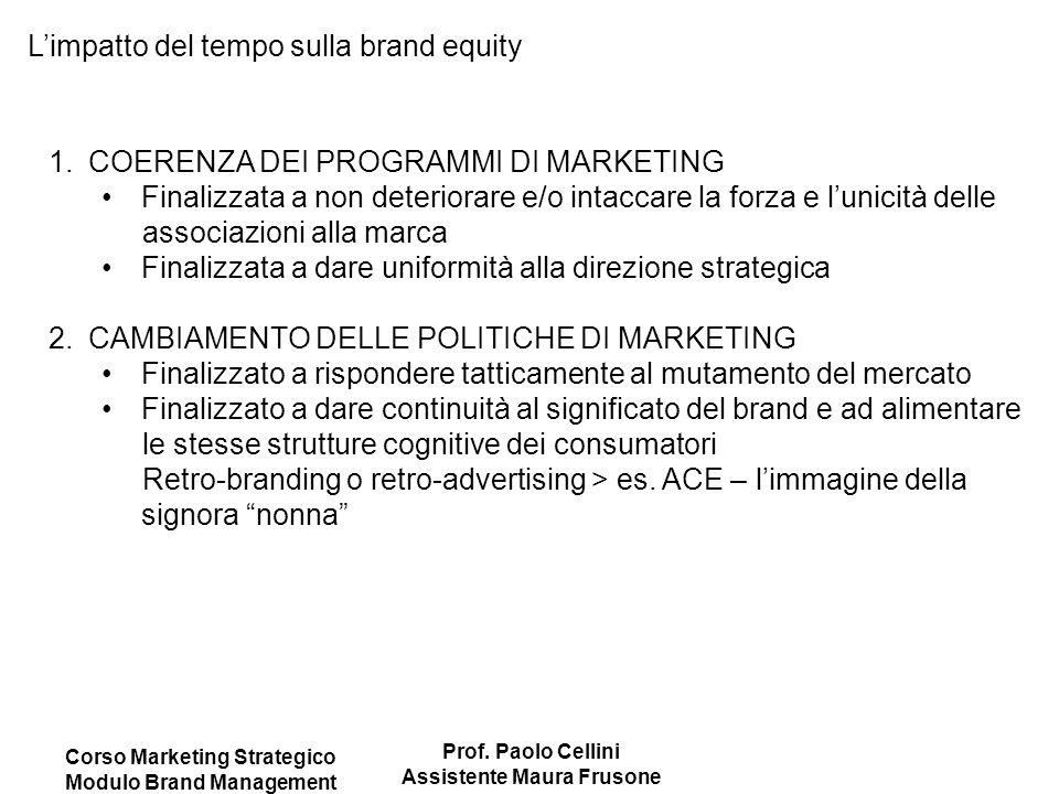 Corso Marketing Strategico Modulo Brand Management Prof. Paolo Cellini Assistente Maura Frusone L'impatto del tempo sulla brand equity 1.COERENZA DEI