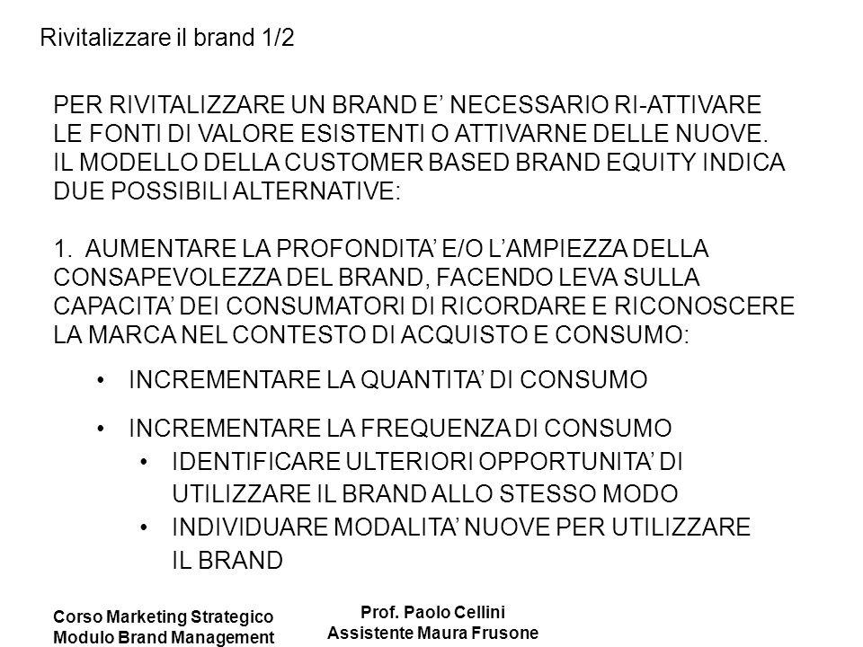 Corso Marketing Strategico Modulo Brand Management Prof. Paolo Cellini Assistente Maura Frusone Rivitalizzare il brand 1/2 PER RIVITALIZZARE UN BRAND