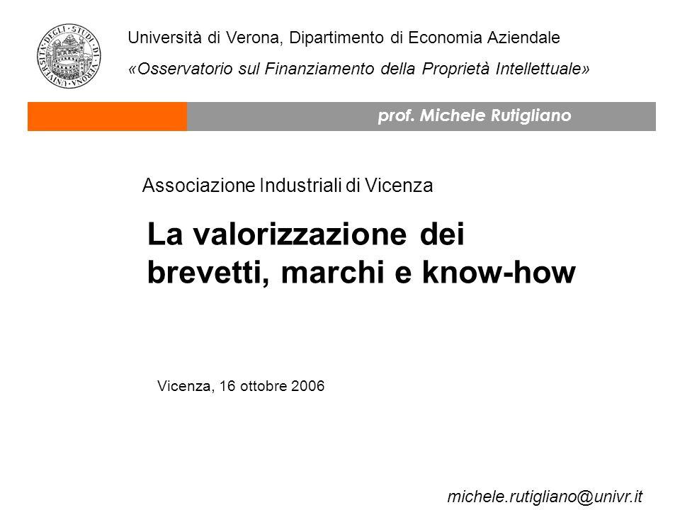 La valorizzazione dei brevetti, marchi e know-how Vicenza, 16 ottobre 2006 prof.