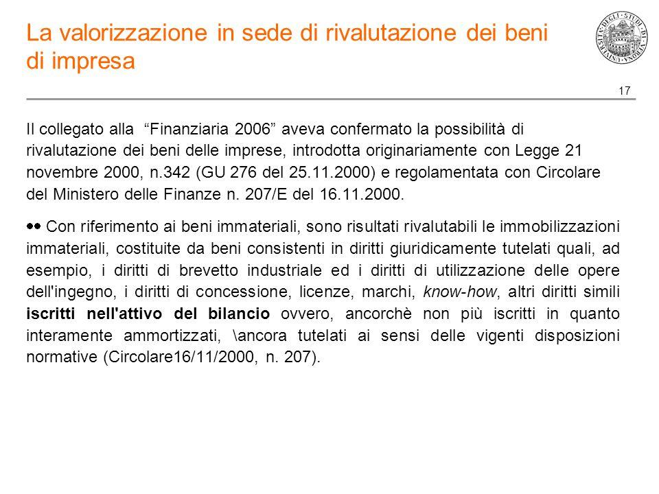 17 La valorizzazione in sede di rivalutazione dei beni di impresa Il collegato alla Finanziaria 2006 aveva confermato la possibilità di rivalutazione dei beni delle imprese, introdotta originariamente con Legge 21 novembre 2000, n.342 (GU 276 del 25.11.2000) e regolamentata con Circolare del Ministero delle Finanze n.