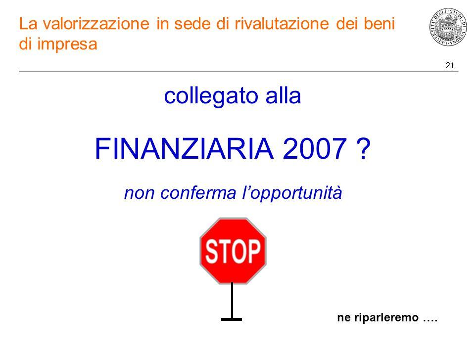 21 La valorizzazione in sede di rivalutazione dei beni di impresa collegato alla FINANZIARIA 2007 .