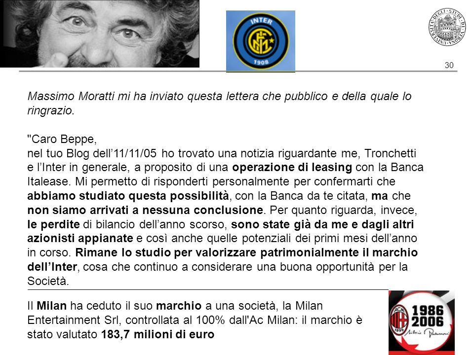 30 Massimo Moratti mi ha inviato questa lettera che pubblico e della quale lo ringrazio.