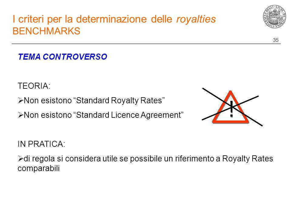 35 I criteri per la determinazione delle royalties BENCHMARKS TEMA CONTROVERSO TEORIA:  Non esistono Standard Royalty Rates  Non esistono Standard Licence Agreement IN PRATICA:  di regola si considera utile se possibile un riferimento a Royalty Rates comparabili