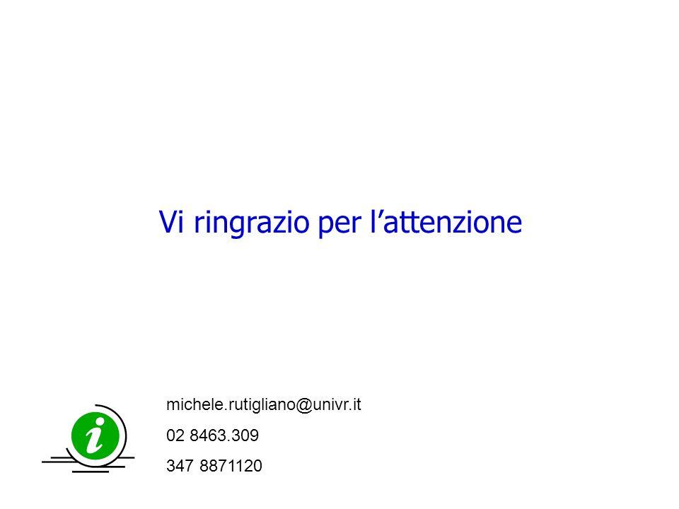 42 Vi ringrazio per l'attenzione michele.rutigliano@univr.it 02 8463.309 347 8871120