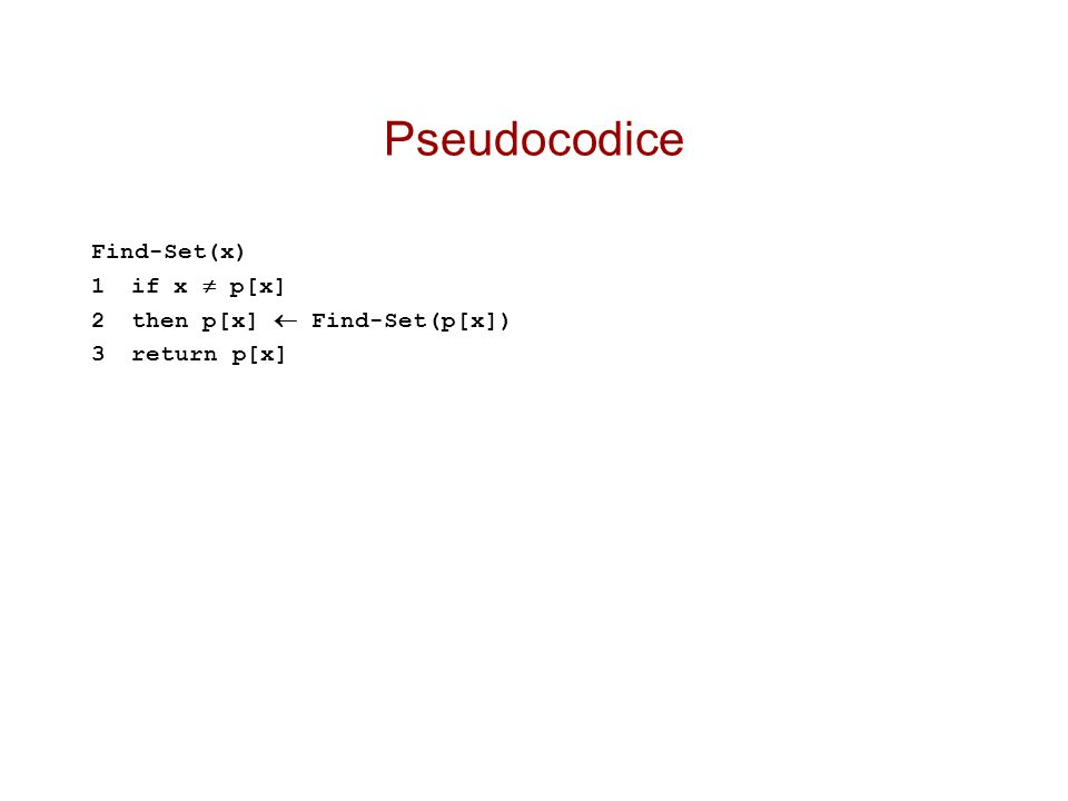 Pseudocodice Find-Set(x) 1if x  p[x] 2then p[x]  Find-Set(p[x]) 3return p[x]