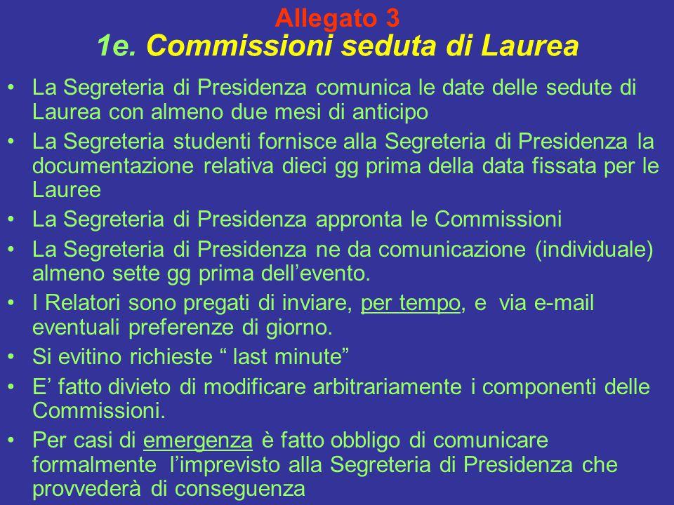 1e. Commissioni seduta di Laurea La Segreteria di Presidenza comunica le date delle sedute di Laurea con almeno due mesi di anticipo La Segreteria stu