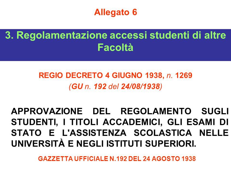 3. Regolamentazione accessi studenti di altre Facoltà REGIO DECRETO 4 GIUGNO 1938, n. 1269 (GU n. 192 del 24/08/1938) APPROVAZIONE DEL REGOLAMENTO SUG