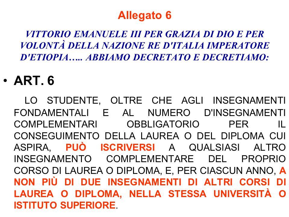 VITTORIO EMANUELE III PER GRAZIA DI DIO E PER VOLONTÀ DELLA NAZIONE RE D'ITALIA IMPERATORE D'ETIOPIA….. ABBIAMO DECRETATO E DECRETIAMO: ART. 6 LO STUD