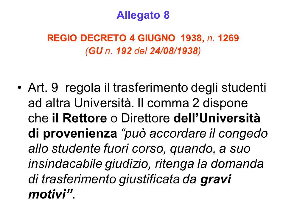 REGIO DECRETO 4 GIUGNO 1938, n. 1269 (GU n. 192 del 24/08/1938) Art. 9 regola il trasferimento degli studenti ad altra Università. Il comma 2 dispone