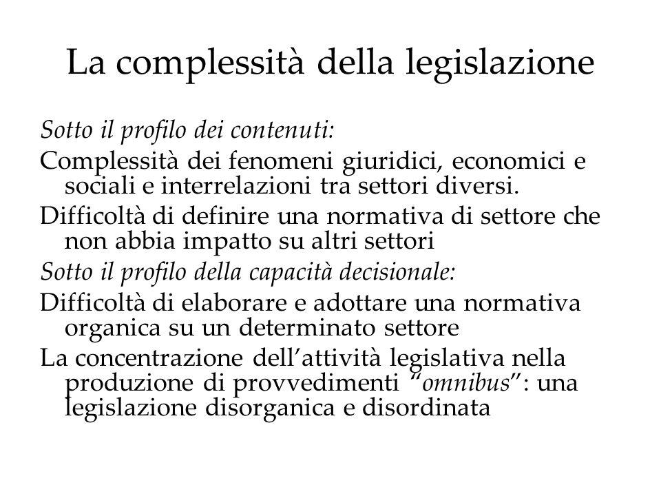 La complessità della legislazione Sotto il profilo dei contenuti: Complessità dei fenomeni giuridici, economici e sociali e interrelazioni tra settori diversi.